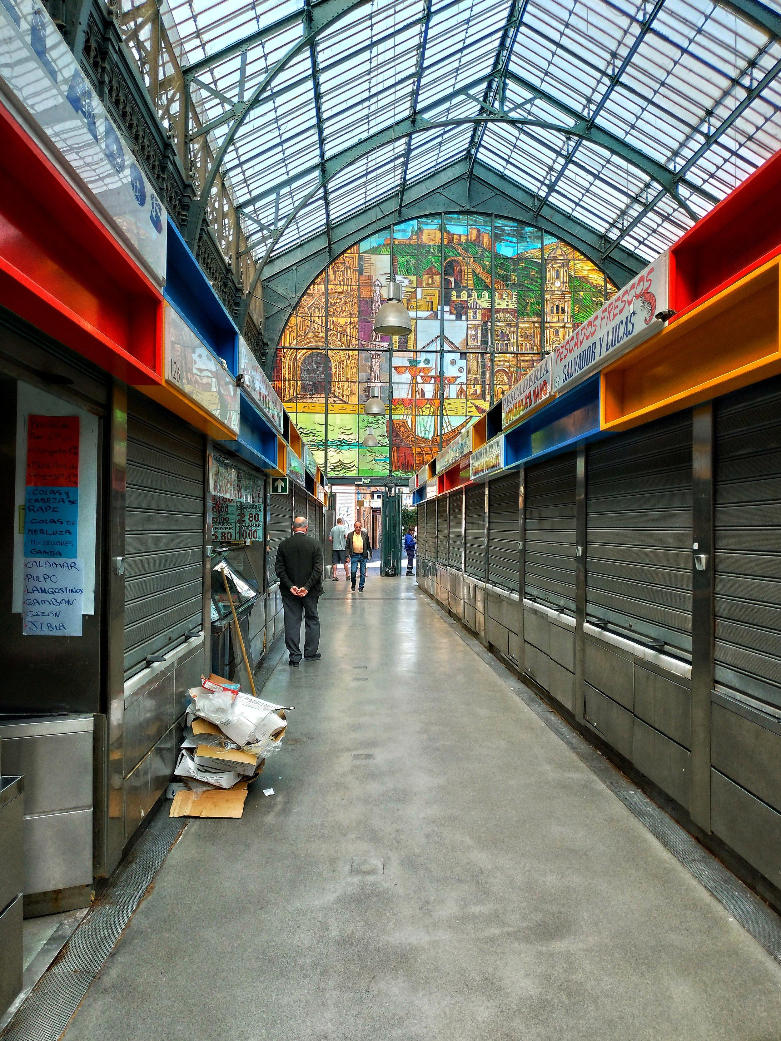 Beautiful stained-glass windows of Mercado de Atarazanas