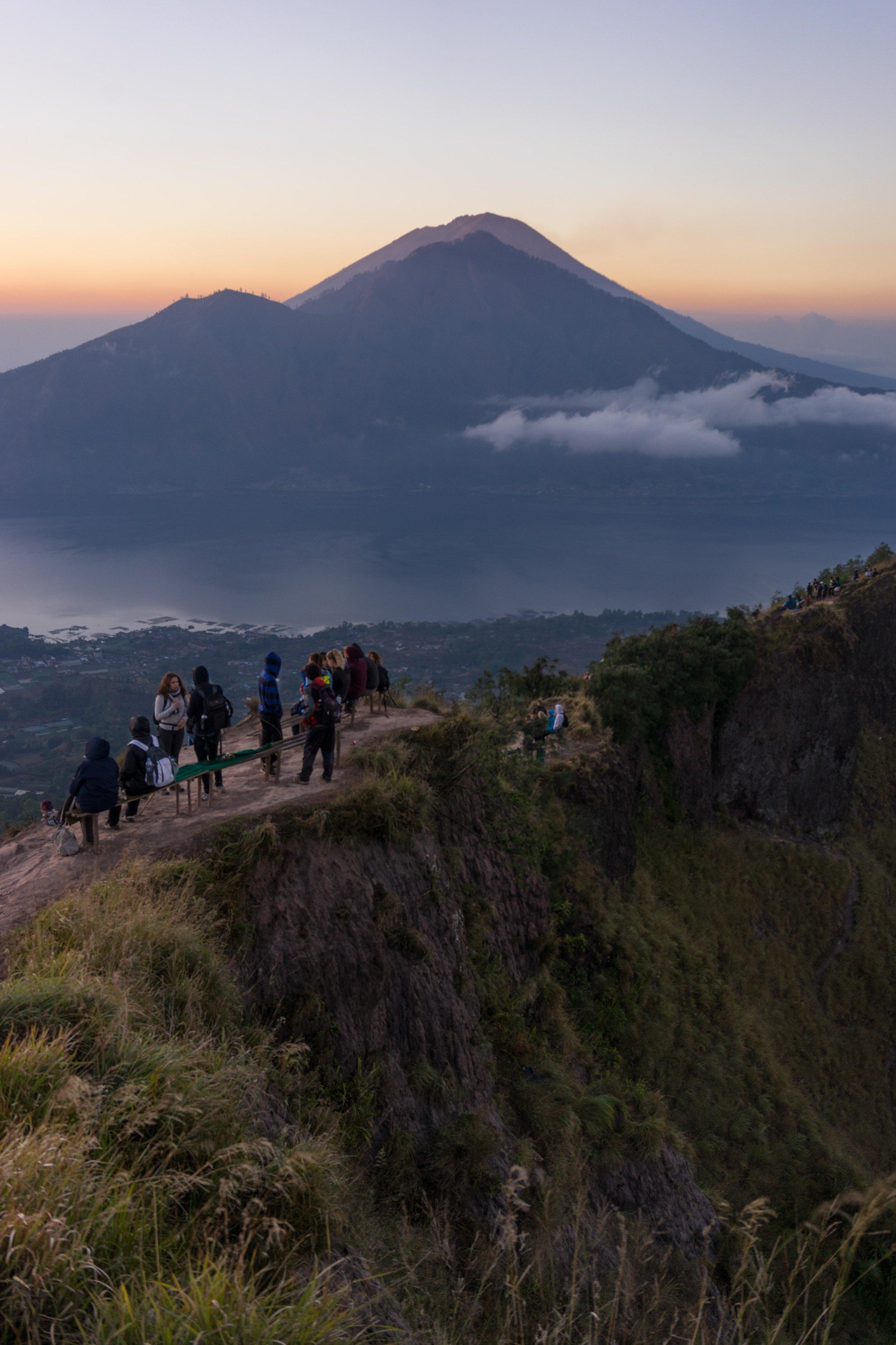 View of Mount Agung from Mount Batur summit, Kintamani, Bali