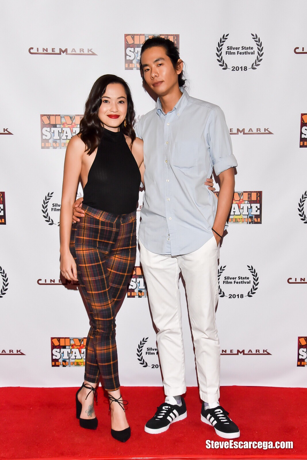 """Trisha Molina and director Adam Jay Ung at the Silver State Film Festival screening of """"The Spirit Room""""; September 9, 2018 Las Vegas, NV"""