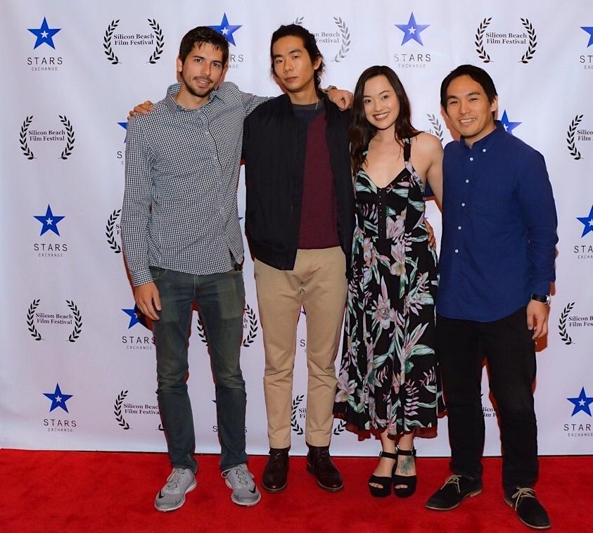 "Cinematographer Dustin Leboeuf, director Adam Jay Ung, Trisha Molina, and composer Taisuke Kimura at the Silicon Beach Film Festival screening of ""The Spirit Room""; April 28, 2018 Los Angeles, CA"