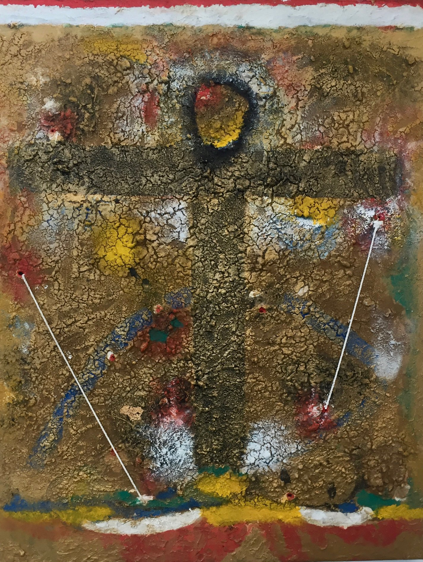 Papo Colo_Pangea Art Republic_Artist Studio in the Rainforest_Oil earth Pigment and string on canvas.jpg