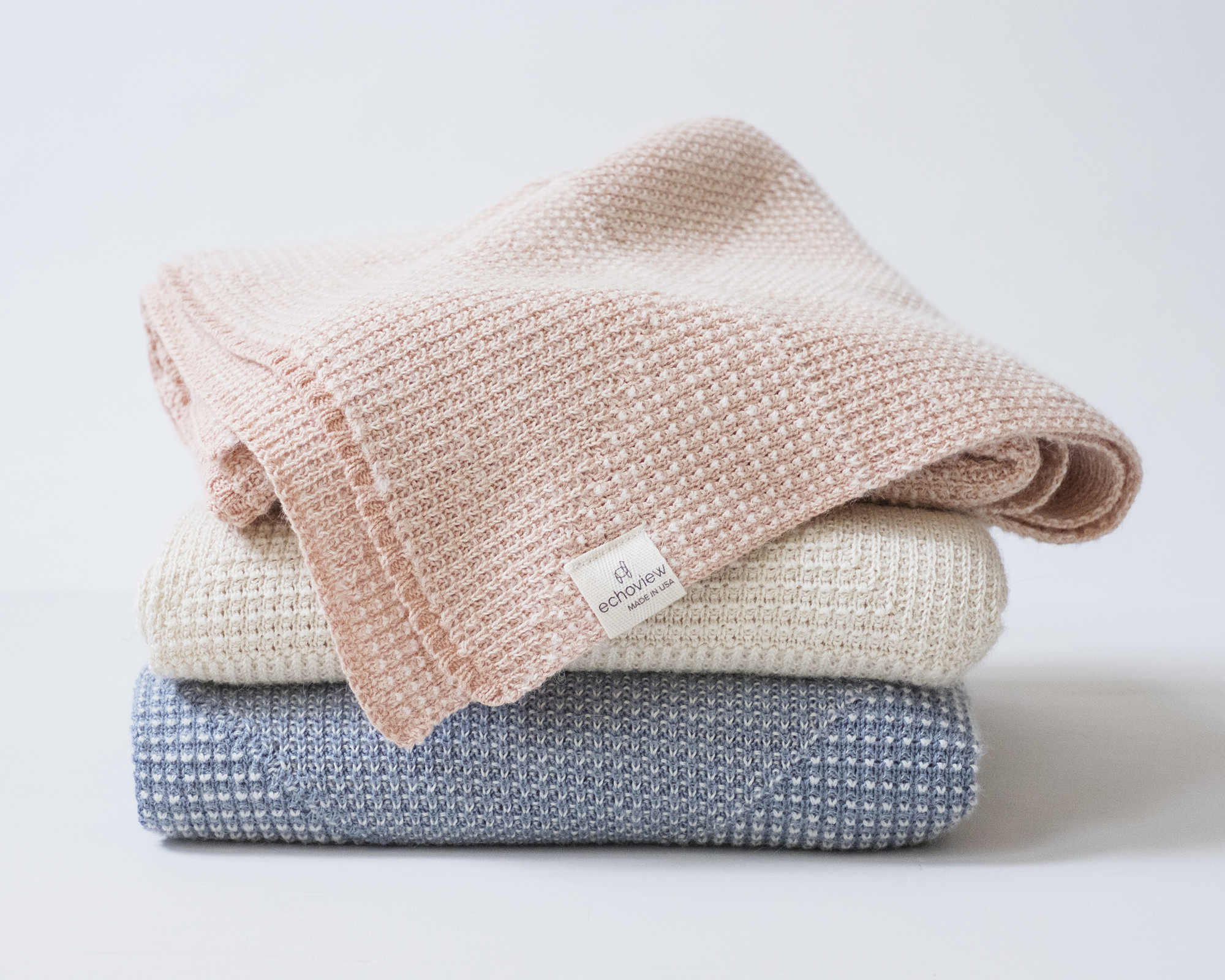 Textured Triangle Baby Blanket  - 70% Organic Supima Cotton and 30% Alpaca