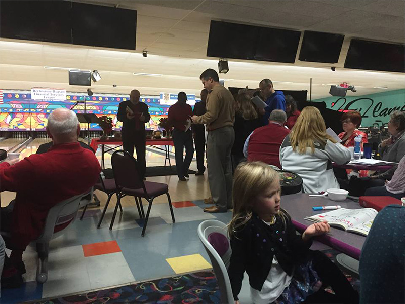 Bishop John Macholz attends Breakfast, Brass the Bishop and Bowling
