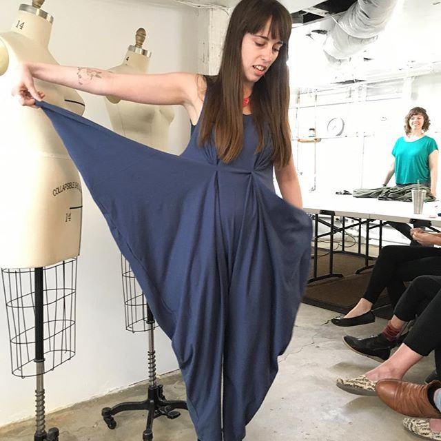 Exploring large geometric shapes with students in my Innovative Design class @portlandfashioninstitute 🔷 Some students chose a star or triangle to create a garment. So many unique and innovative silhouettes can come from simply draping these shapes on the body.