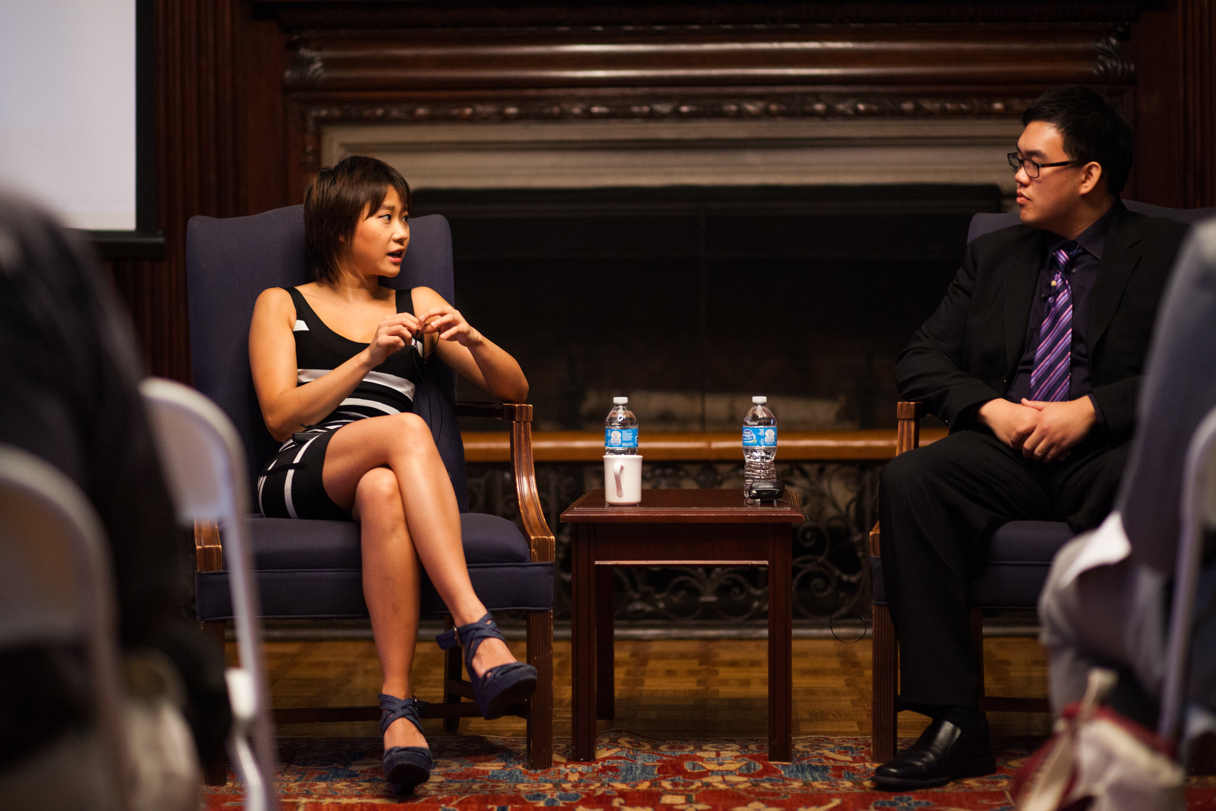 George Ko speaking with Yuja Wang in a talk hosted by Harvard's Office for the Arts.