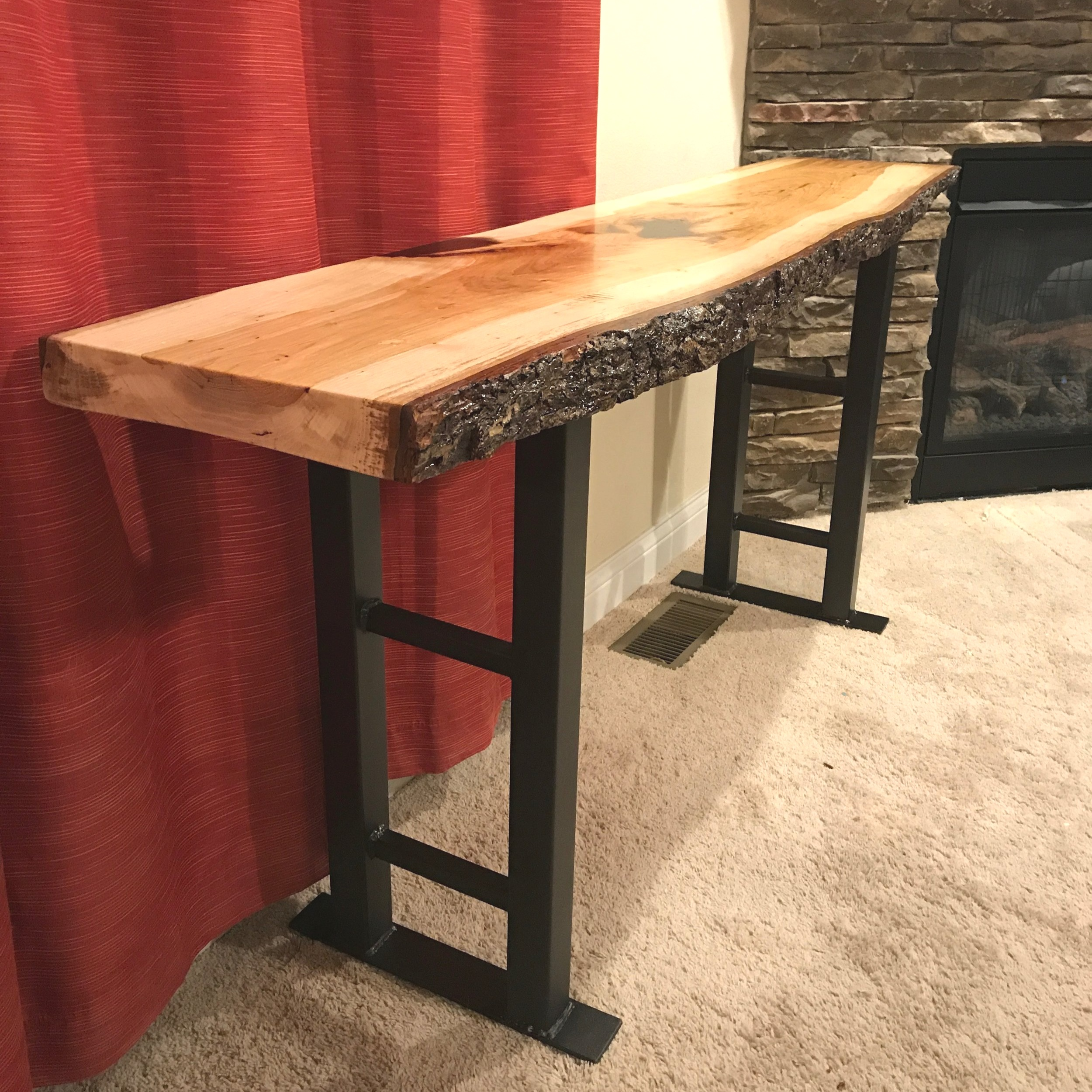 Live edge Pecan hall table. 2 inch square steel legs.