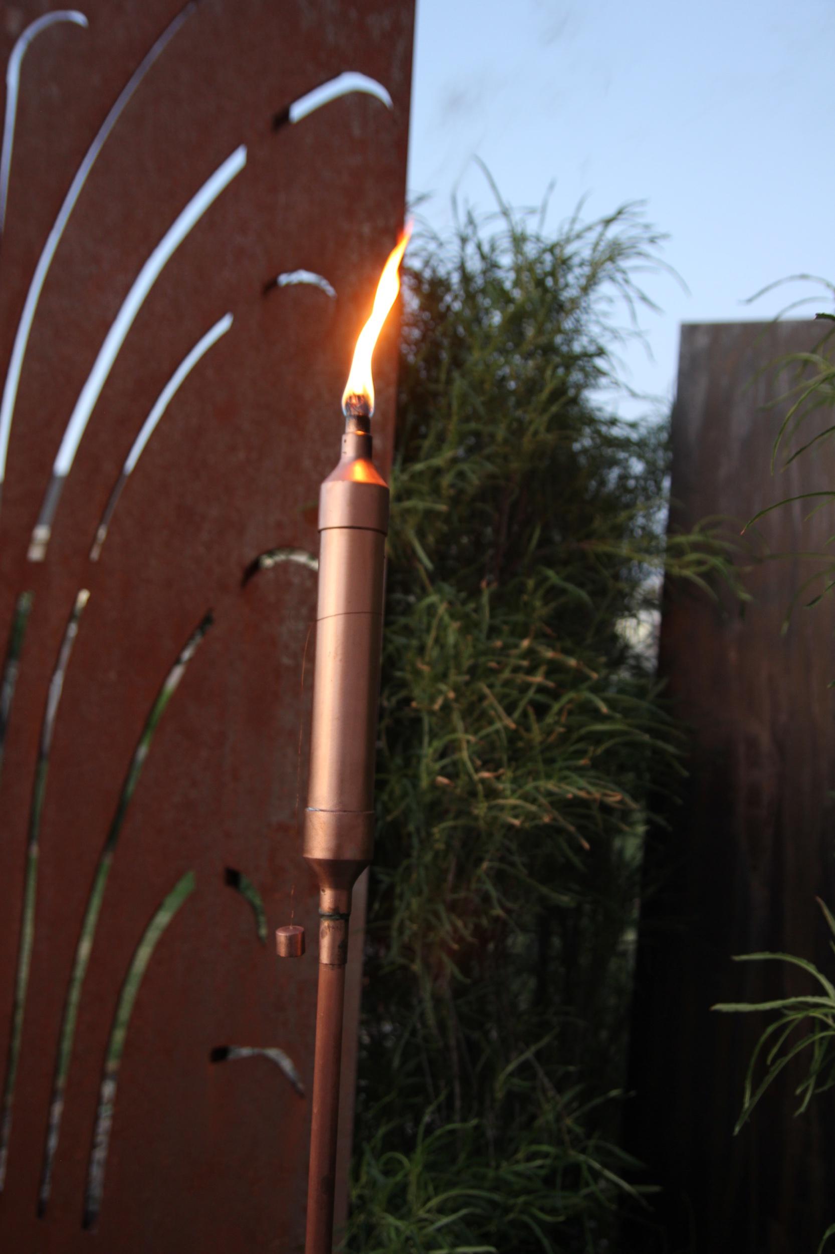 """Pure Copper Tiki Torches - 11"""" tall x 1.5' diameter."""