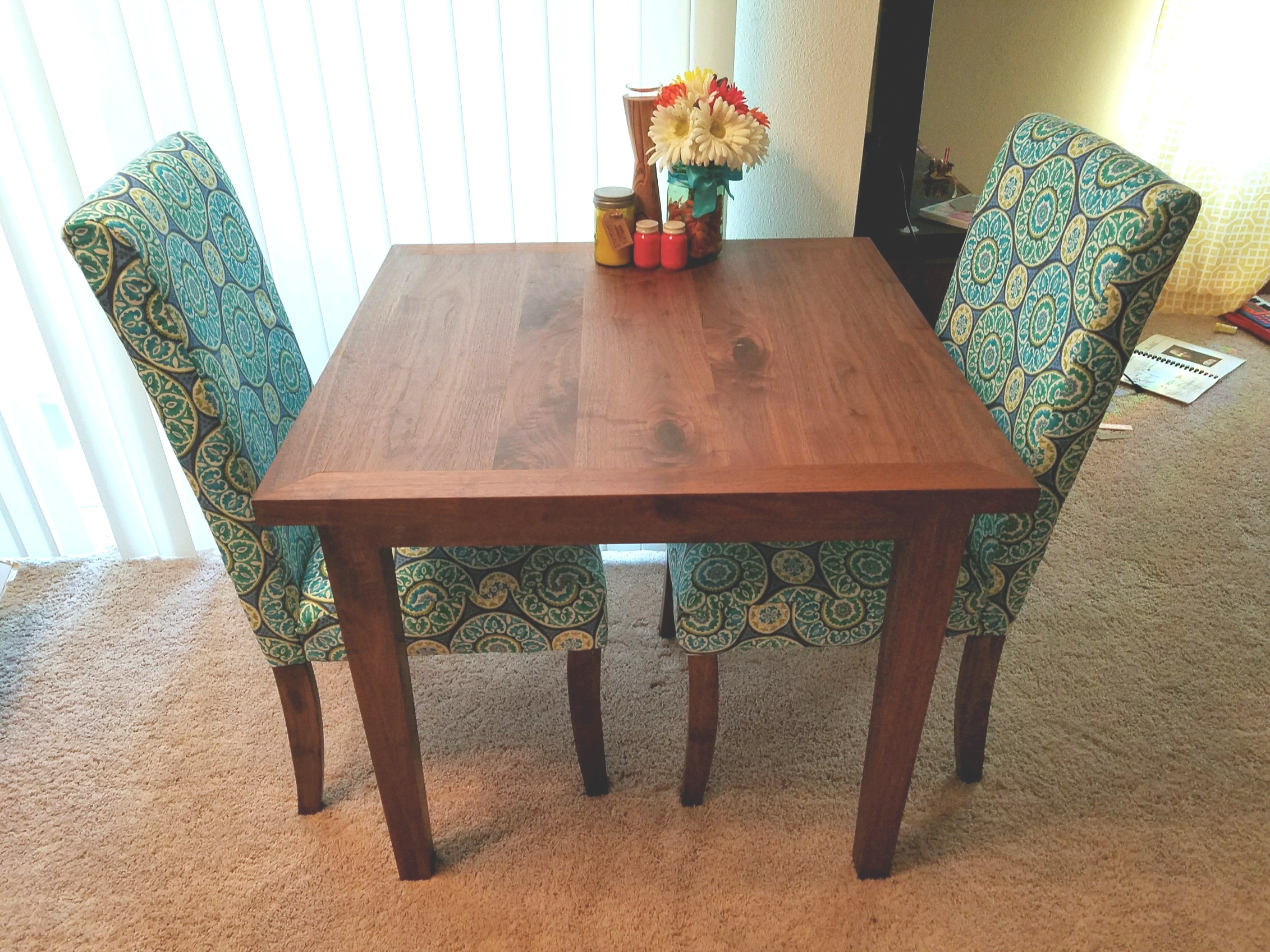 Solid Walnut Dining Table with Framed Edges