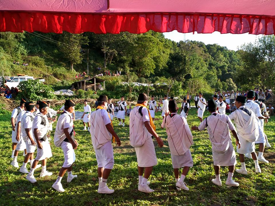 The village handover ceremony featuring traditional Gurung dance