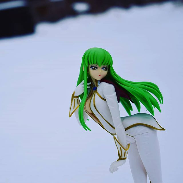 """Lelouch, do you know why snow is white? Because it's forgotten what color it's supposed to be."" Figure: C.C. Pilot Suit EXQ Figure by Banpresto  #anime #animefigures #otaku #codegeass #cc #snow #figurephotography"