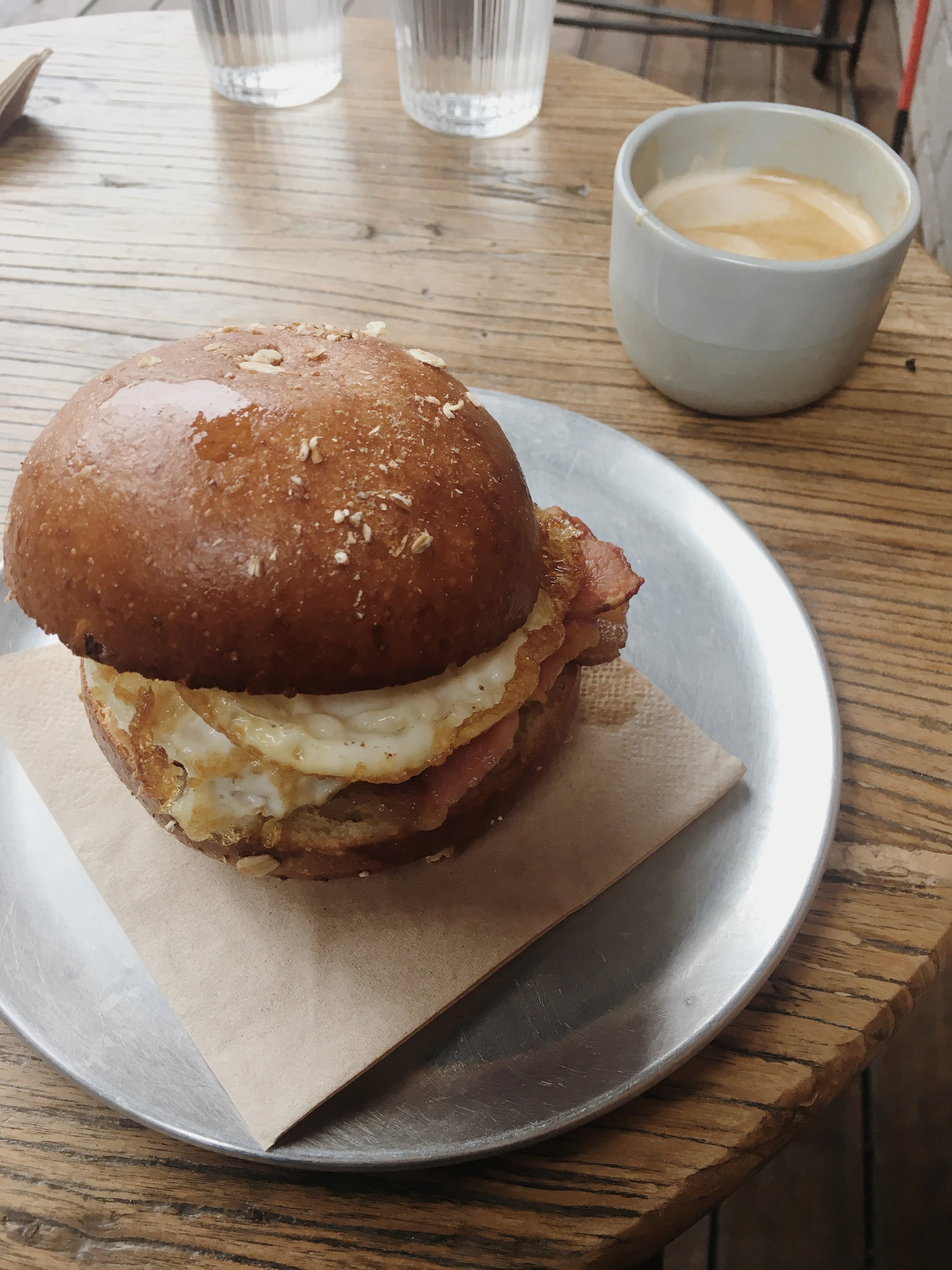 butter bun, bacon, egg, housemade tomato relish