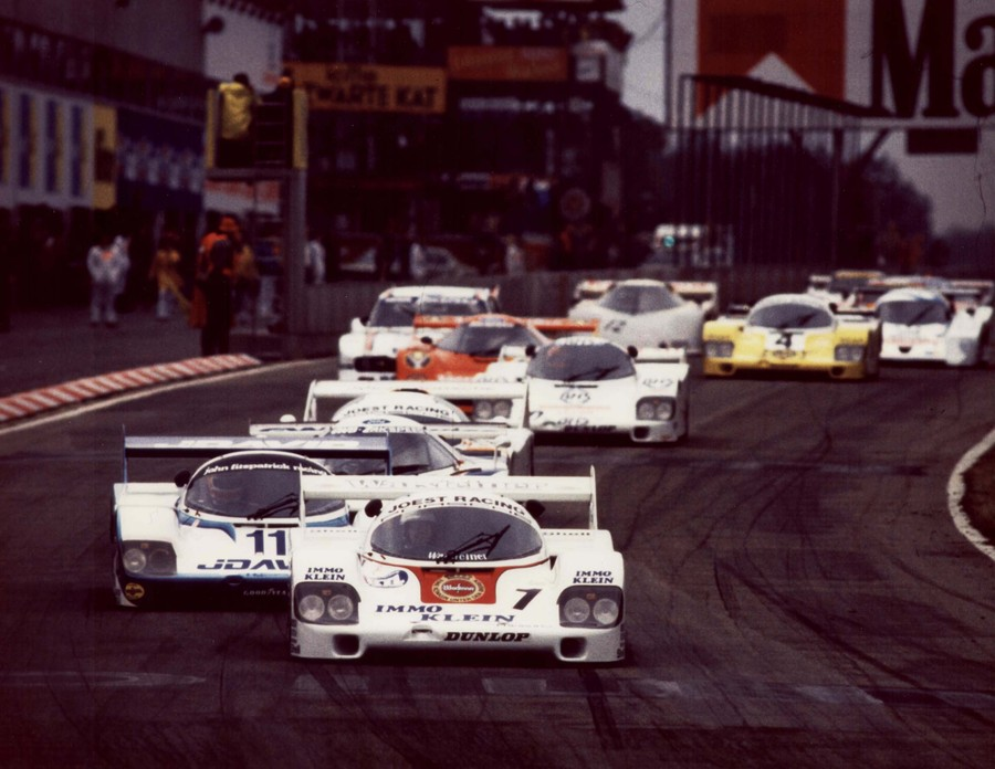 Porsche 956s lead the field of Group C prototypes at Imola in 1983