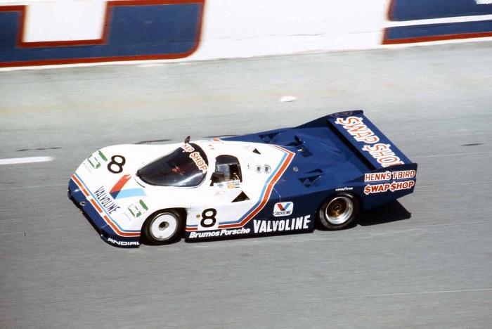 The Henn's Swap Shop Racing Valvoline Porsche 962 won the 1985 Sebring 12 Hours with A.J. Foyt and Bob Wollek.
