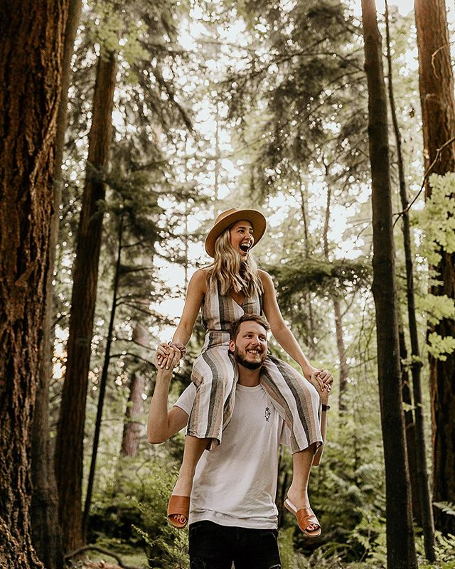 """We ran around in the forest to snap a few pics RIGHT before he got down on one knee and asked her to be his forever 😭💍✨ My good pals got engaged this week!!! I had the honour of photographing this secret proposal by asking, """"Hey, I need a cute couple to shoot next week! You in?"""". He was wearing her favourite shirt. She was wearing her new jumpsuit. He asked her to marry him. She said, """"Of course!"""". We celebrated by stuffing our faces with wings and sushi. One of the best days ever. Soooo excited for Jesse + Leeza! Congrats to these beauts!!!! 😍 #jeezadoesmarriage"""