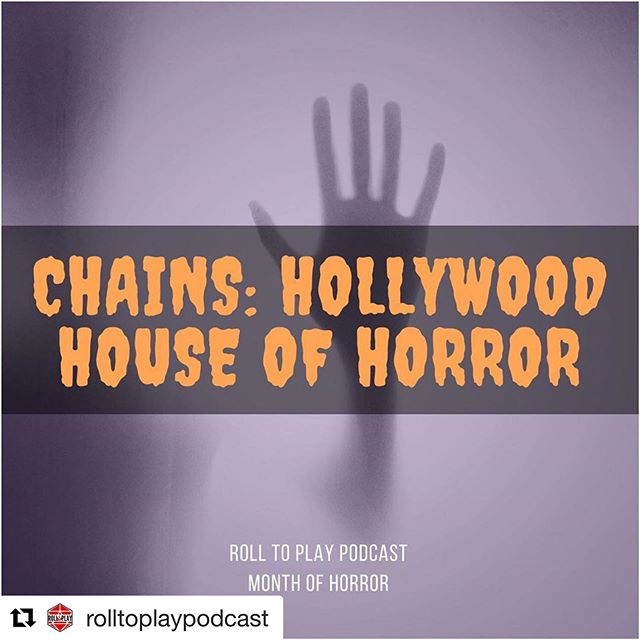 We got to play a spooky game with @rolltoplaypodcast !!! #Repost @rolltoplaypodcast with @get_repost ・・・ This week kicks off our Halloween Month of Horror!! 5 weeks of horror gaming!  Chains: Hollywood House of Horrors  Welcome to the Hollywood House of Horror! Come on inside and see what the house has in store for you. Maybe it is a room full of snakes. Or a small, tight hallway. Or a dentist's office. Whatever you fear, the house has it! Join some unfortunate teens from a small, sleepy town as they have a night they will never forget....as much as they want to!  This episode was a recorded playtest of Chains; the first Roll To Play roleplaying game! It is a setting agnostic tabletop roleplaying system inspired by micro RPGS like Lasers & Feelings, All Outta Bubblegum, and Doctor Magnethands. Designed by Tim Devine, Kristin Devine, and Kent Blue.  Kaci (The Tag Along): Tim  Bobbi (The Scaredy Cat): Maggie  Lilith (the Goth): Jess  Jessica (The BFF): Bryce (The Cool Kid): David  Please, if you enjoy what we are doing and want to see us grow, rate us on iTunes or share us with a friend!  https://episodes.castos.com/rolltoplaypodcast/Chains-Hollywood-House-of-Horrors.wav