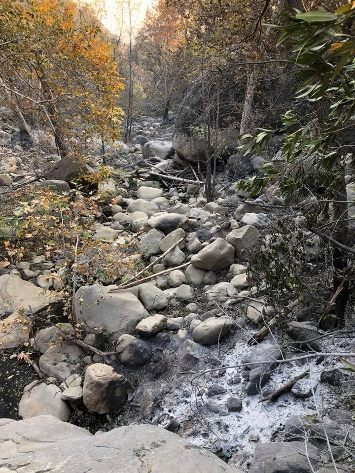 Ash looks like snow in the creek bed near our house after the wildfire. December 2017.