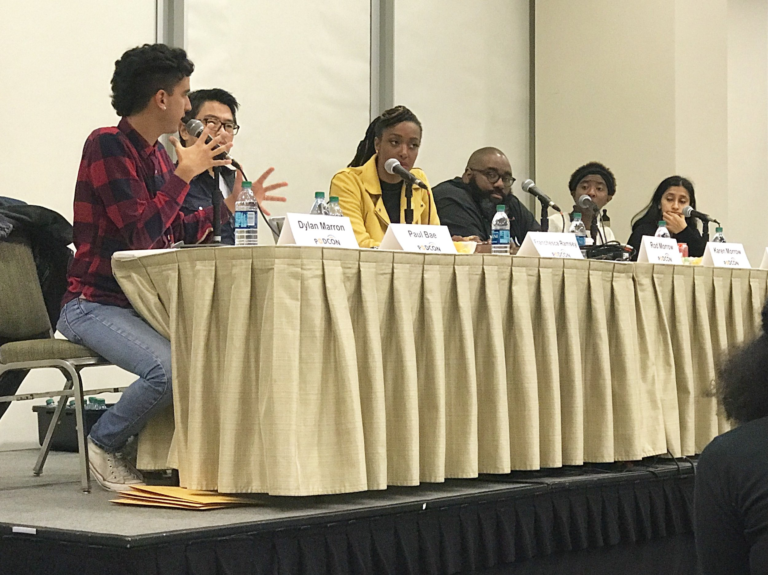 A great talk on podcasters of color. From L to R Dylan Marron, Paul Bae,Franchesca Ramzey, Rod Morrow,Karen Morrow,and Aparna Nancherla