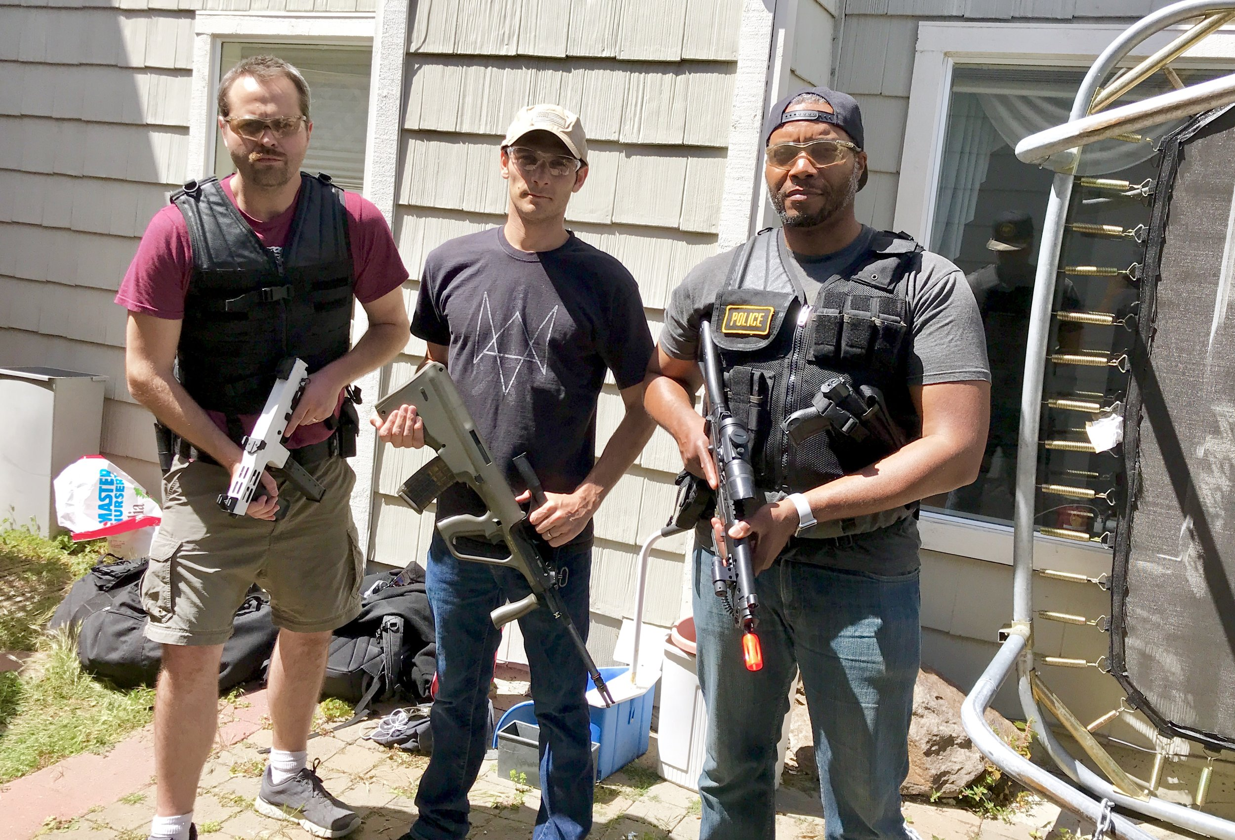 From L to R.  Cast mate Daniel, Stuntman/weapons master Andrew Neiss and yours truly.