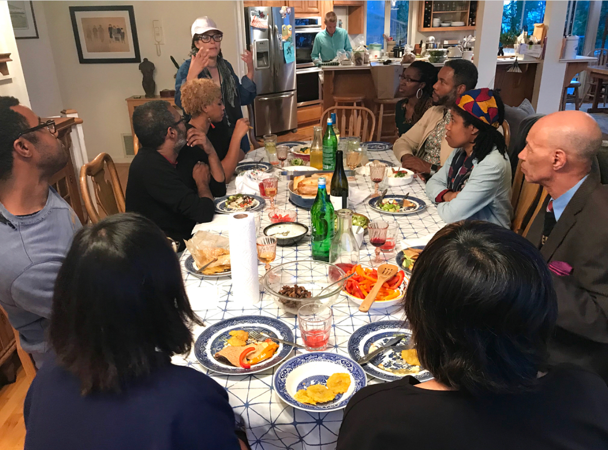 A low key dinner amongst artists with one of our fearless leaders, Maria (upper left), talking to us about why she brought us together.
