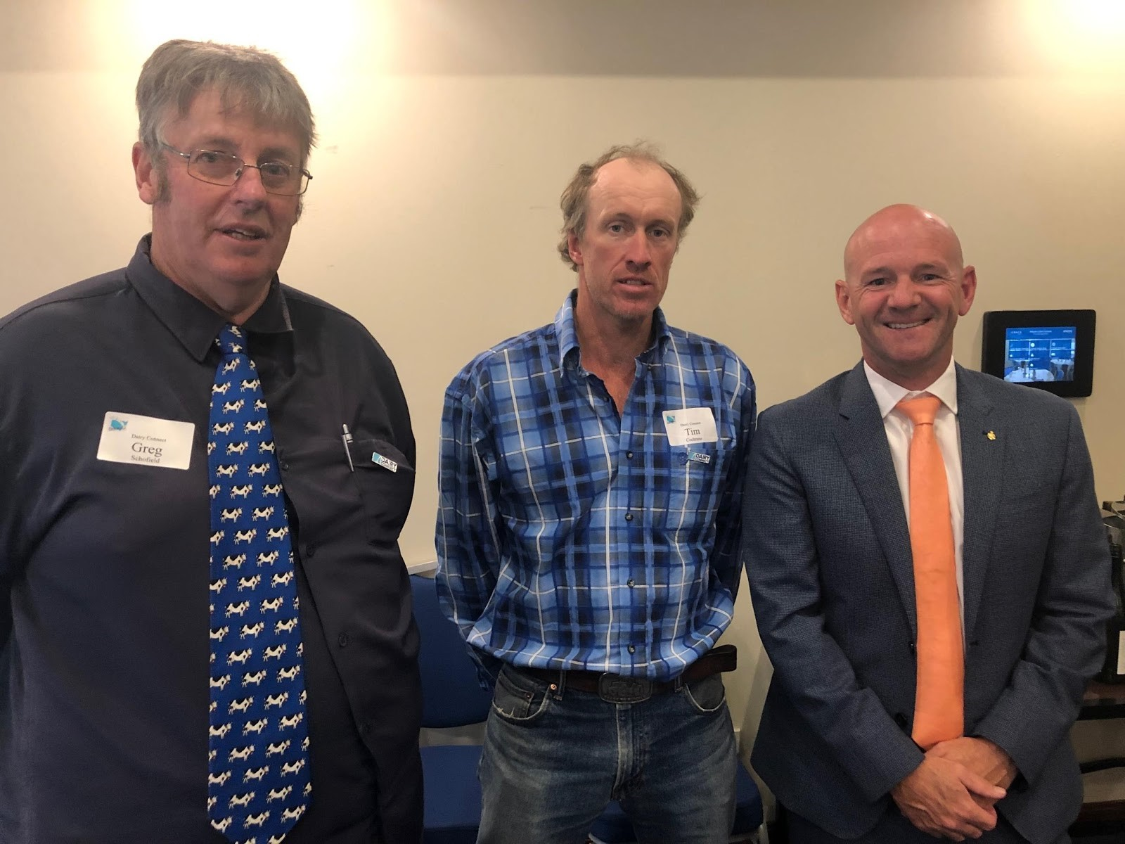 L-R: Greg Schofield, dairy farmer, Southern Highlands; Tim Cochrane, DC Farmers Group Member & dairy farmer, South Coast; the Hon Niall Blair MLC