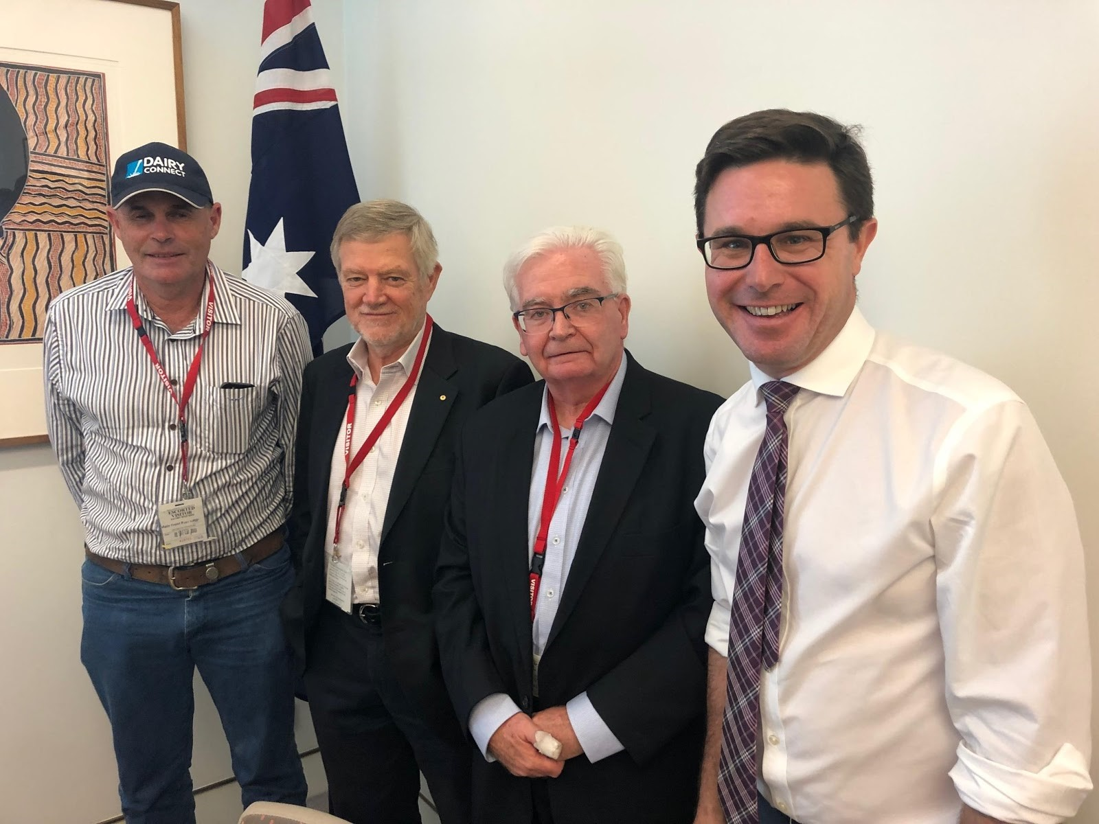 L-R: Graham Forbes, DC Farmers Group President & dairy farmer, Gloucester; George Davey AM, DC Chairman; Chris Sharpe, Managing Director, Richmond Dairies; the Hon David Littleproud MP
