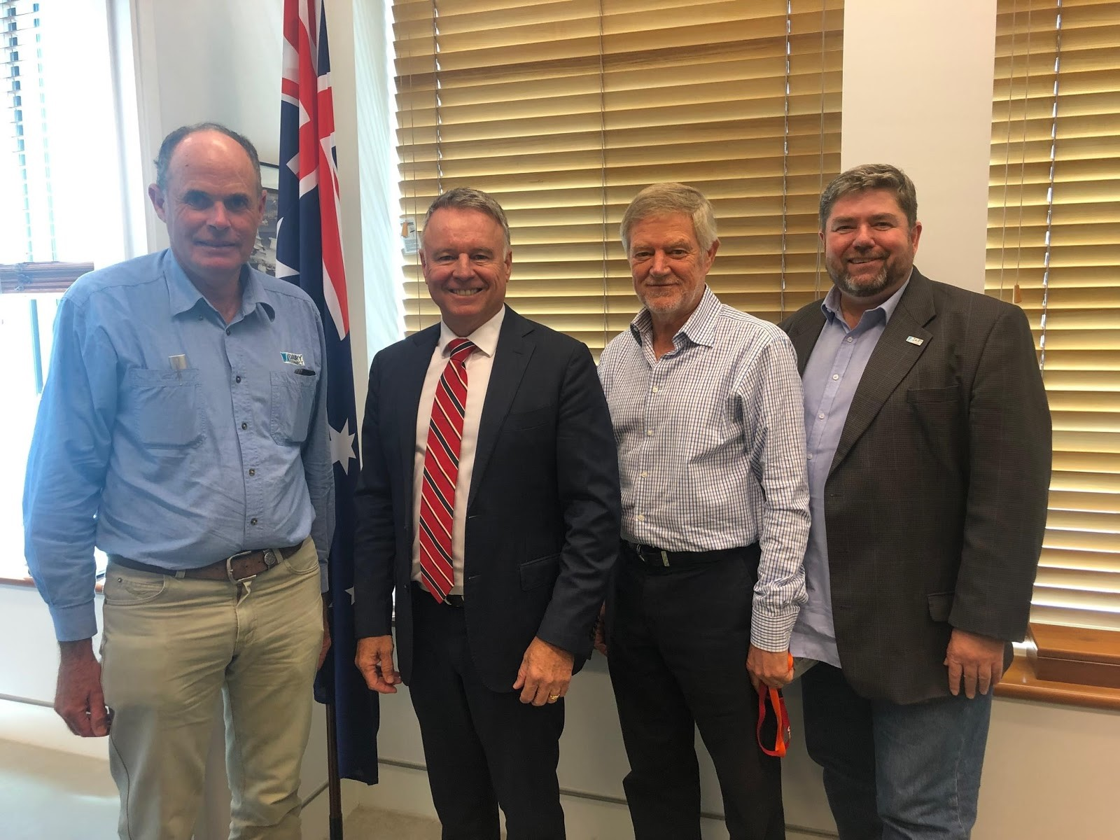 L-R: Graham Forbes, DC Farmers Group President & dairy farmer, Gloucester; the Hon Joel Fitzgibbon MP; George Davey AM, DC Chairman; Shaughn Morgan, DC CEO
