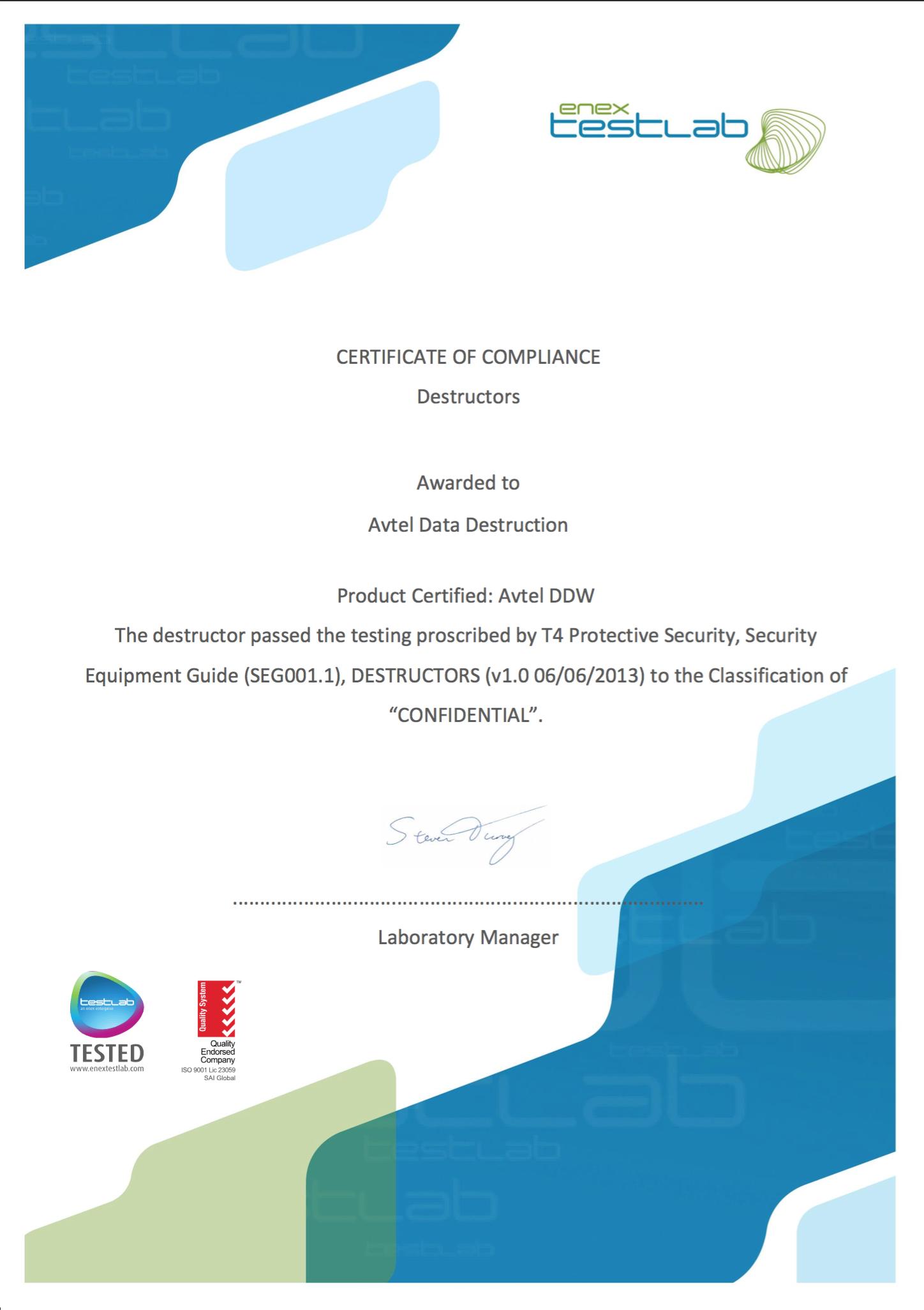 Avtel Destructor Certificate 2017.png