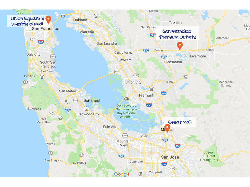 Los puntos de shopping en el mapa