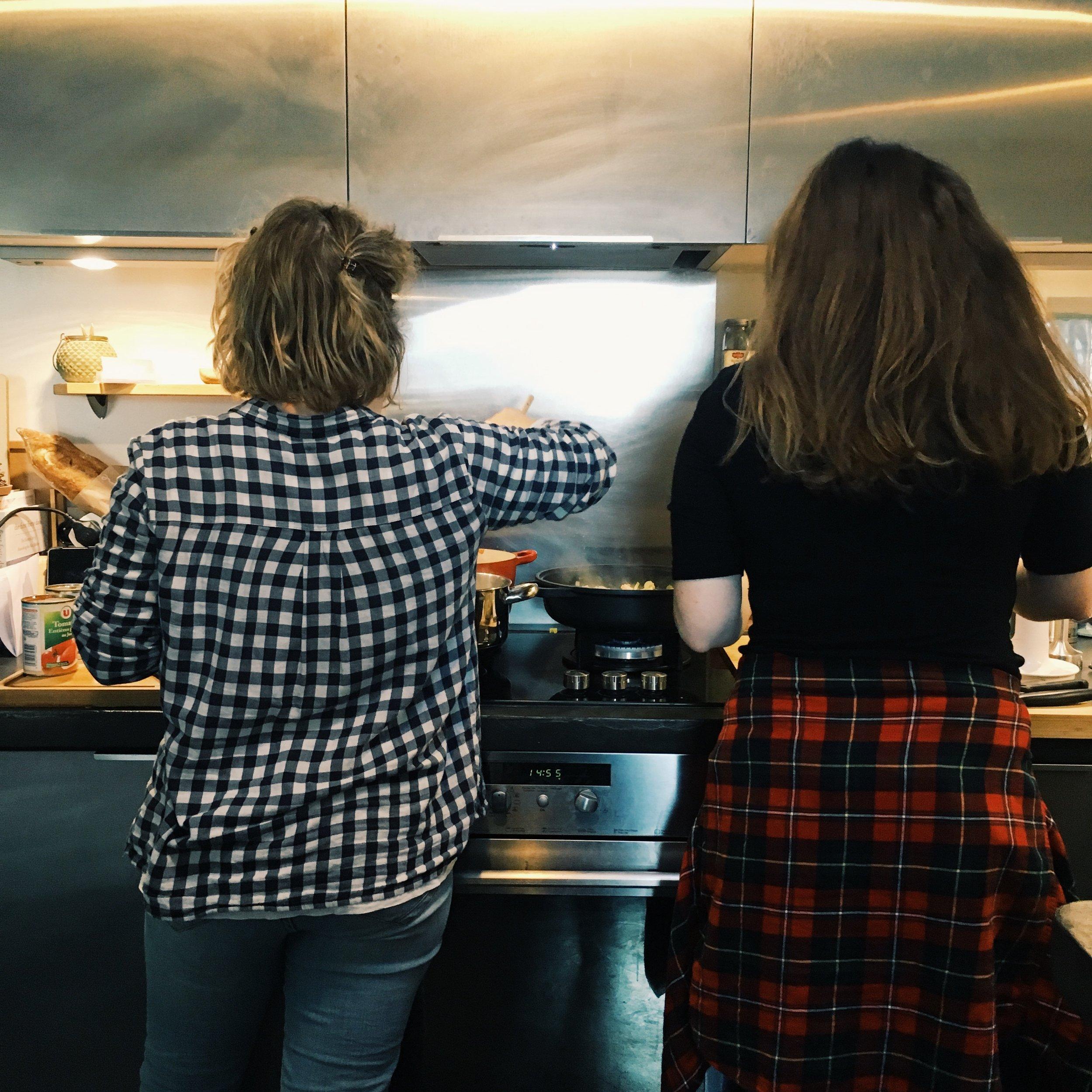 The lovely Emily & Sarah releasing their inner Chefs