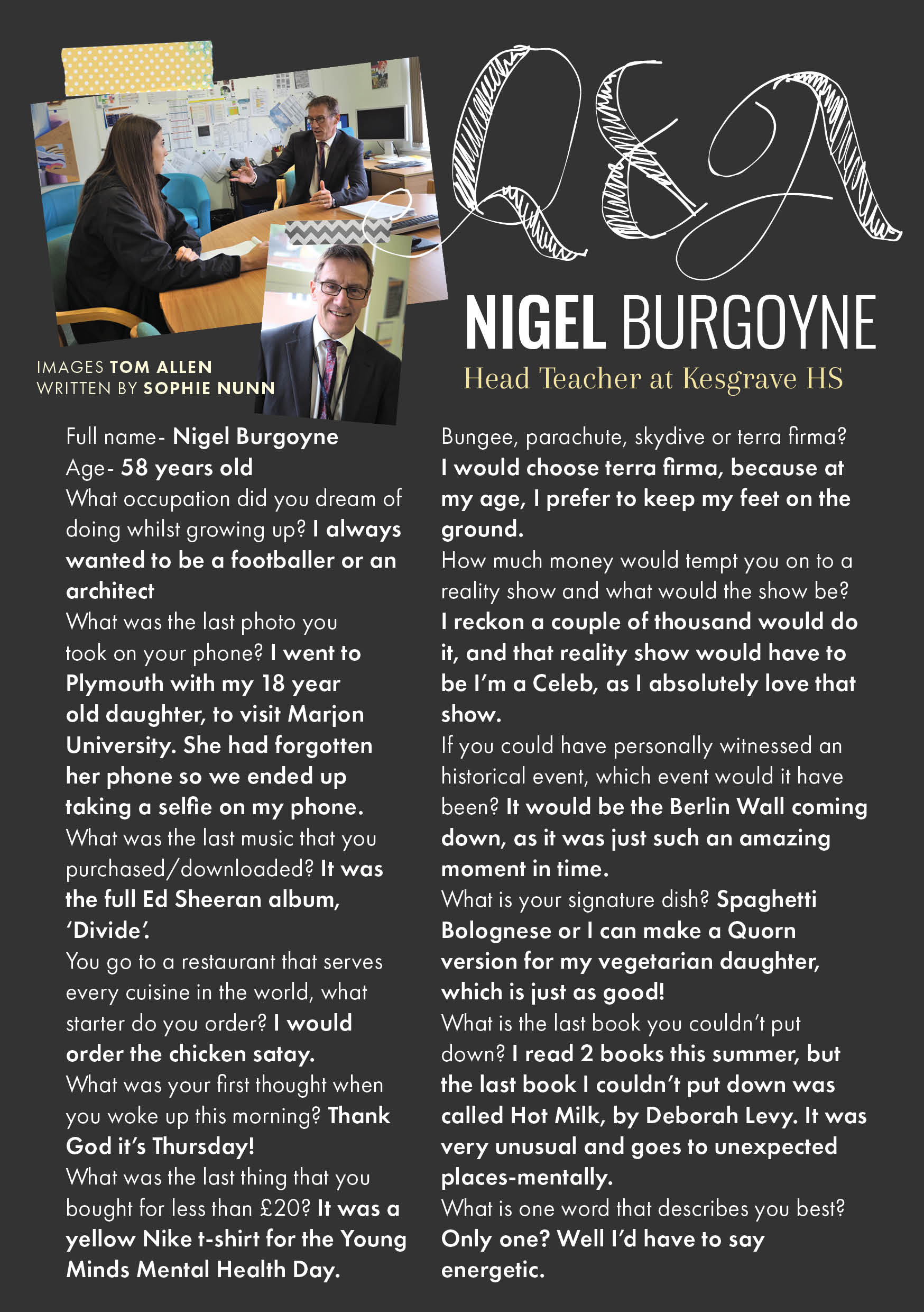 q&a, nigel burgoyne, kesgrave high school, ipswich, suffolk, head teacher