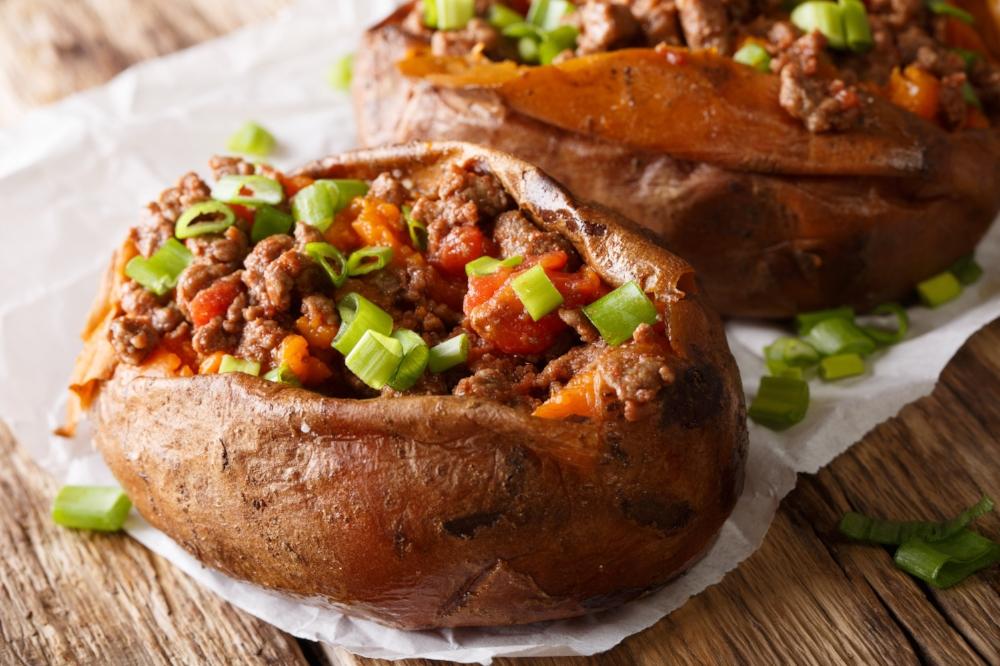 beef stuffed sweet potato