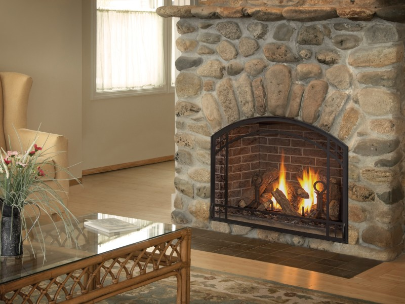 Alpha 36S Direct Vent Gas Fireplace - Clean-face traditional fireplace available with a traditional log set.