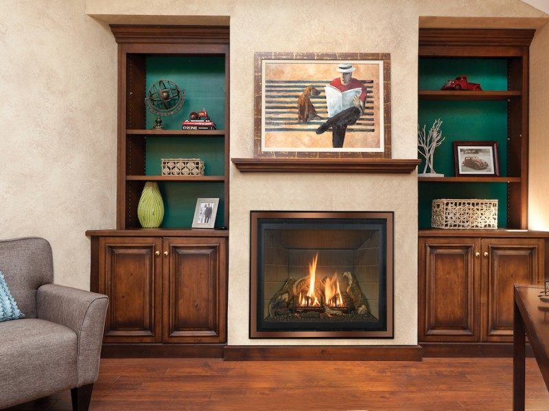 Bayport 41 Direct Vent Gas Fireplace - Direct vent gas fireplace that comes in either a log set or glass media set.
