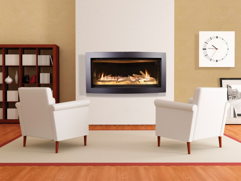 Slayton 42S Direct Vent Gas Fireplace - Linear contemporary fireplace with glass media set and optional media sets.