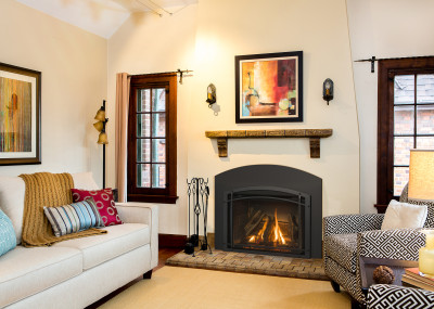Jordan 34S Gas Fireplace Insert - Gas insert fireplace comes standard with traditional log set.