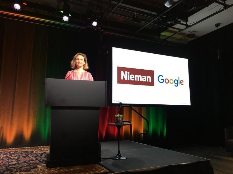 Giving a talk on creating family-friendly newsrooms at Google HQ in Boston.
