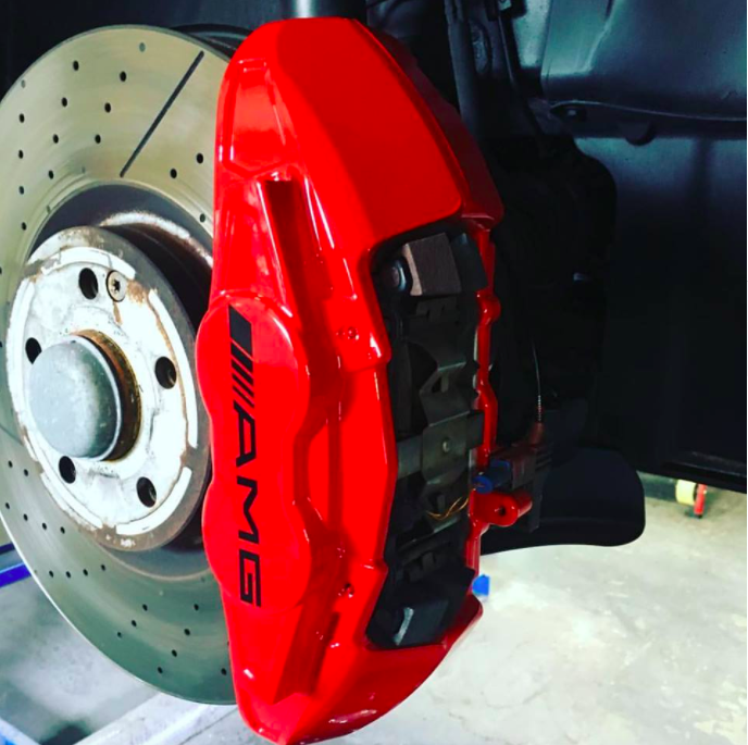 We changed these AMG CLA 45 calipers from silver to red, and fitted new AMG decals -