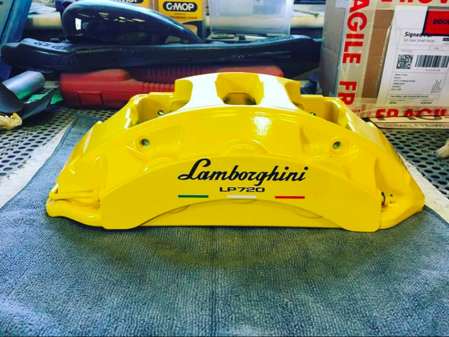 We freshened up these Lamborghini Aventador calipers with a fresh coat of Giallo Corona -