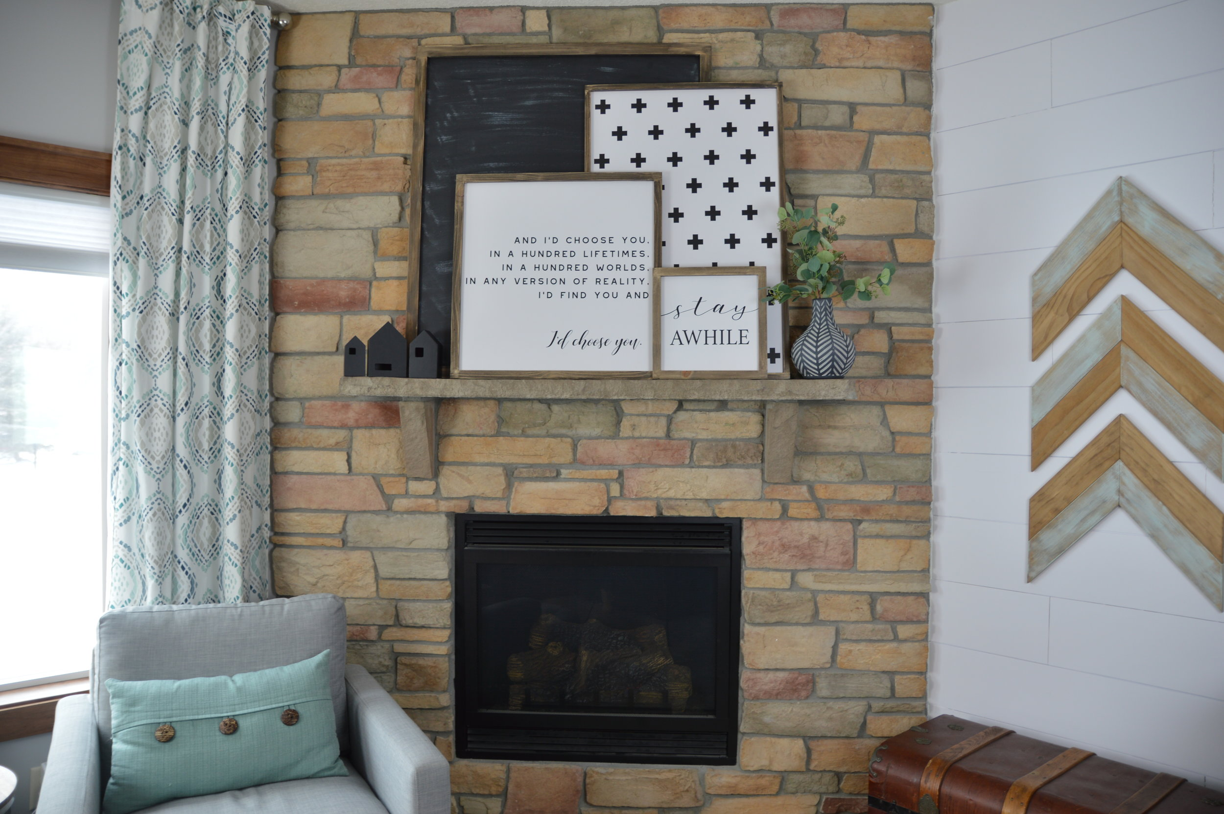 Here's what our fireplace looked like originally.