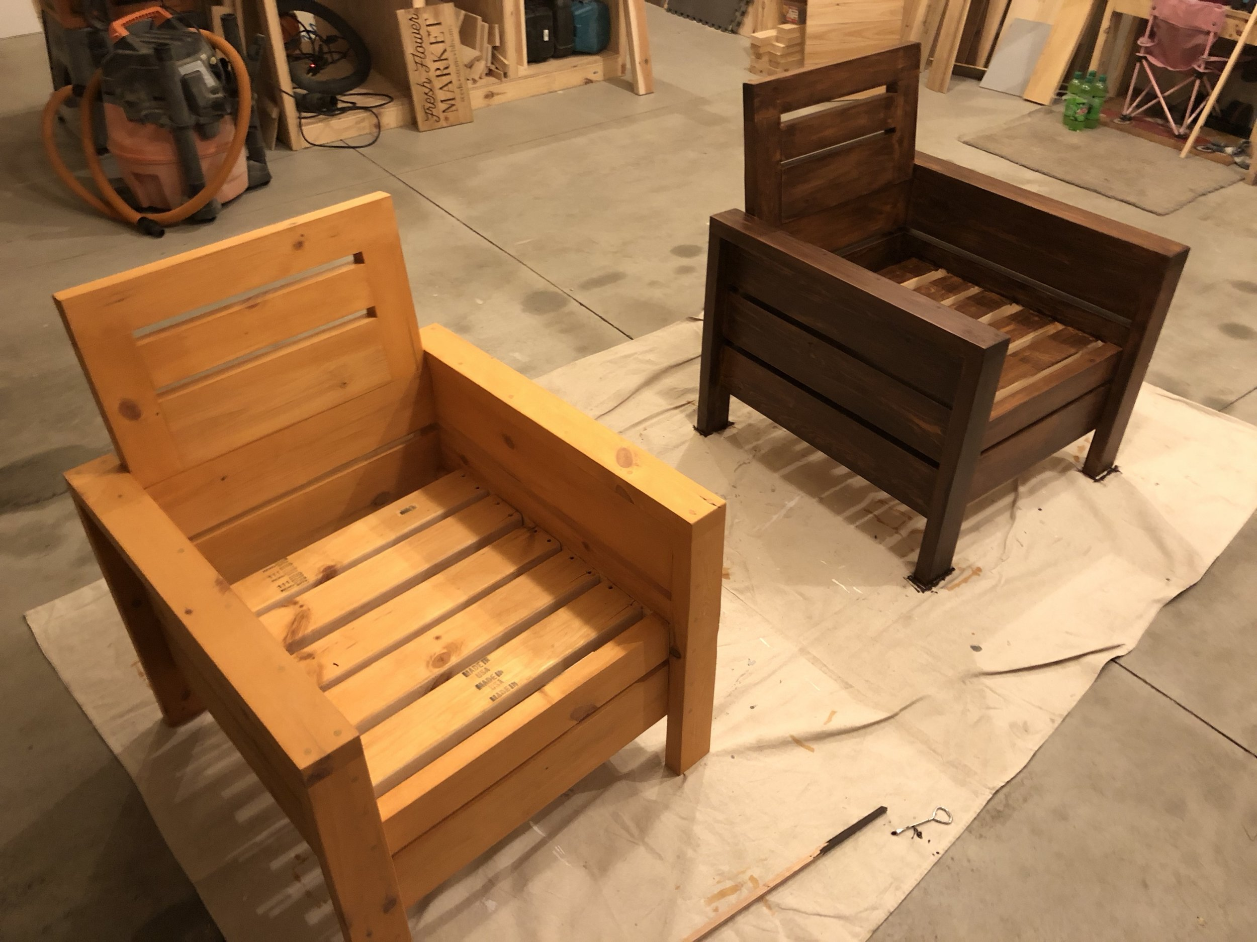 The chair on the left was stained using the original cedar colored stain. The chair on the right was stained with cedar, lightly sanded, and then stained again with a hickory colored stain. The chair color on the right is exactly what we were hoping for.