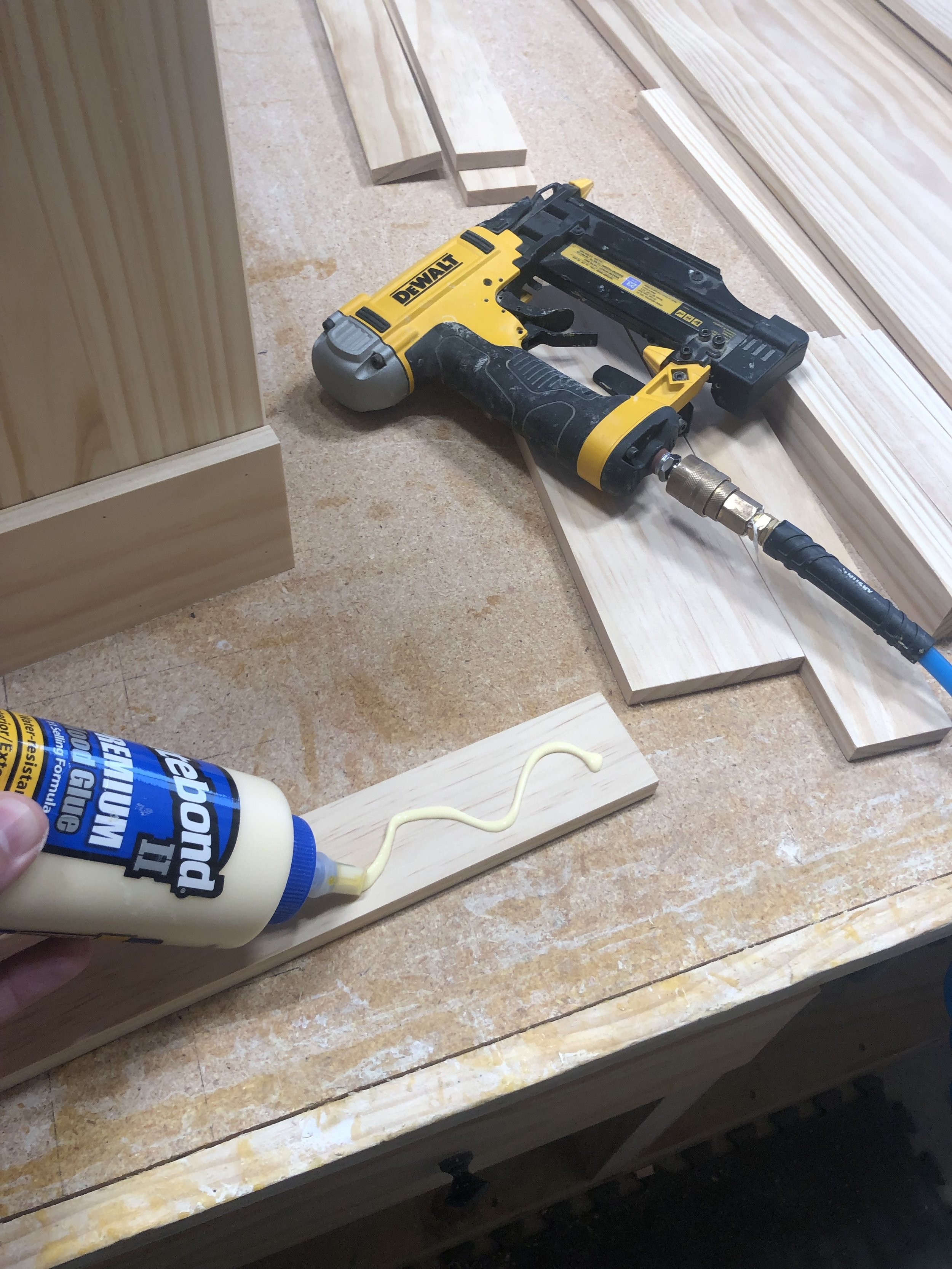 Throughout this project, each piece of wood will be attached with wood glue and a nail gun.