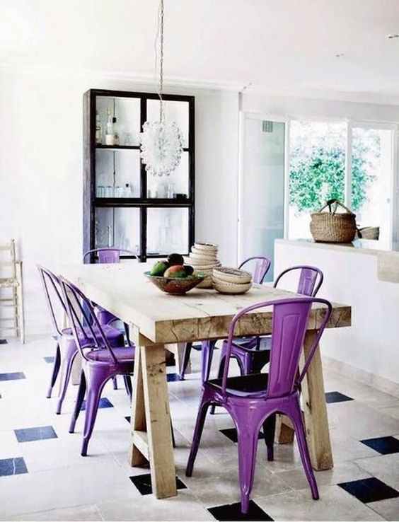 I think I Like This Violet Thing   Let's ease into this. Maybe you're not one to paint the walls of your home this bold color. I don't blame you! Introduce it into your kitchen with fun Macaroons at your next get together or add a pop of color to your table with violet chairs. You can even take it a step further and paint the inside of a piece of furniture,where you will be pleasantly surprised by the pop of color every time you open it.   Seminole Paint and Decor Center  can help you find the perfect color! They were established in 1972 and are locally owned and operated. Whether you're painting metal chairs or the inside of a wooden cabinet, their recommendations are sure to get the job done.