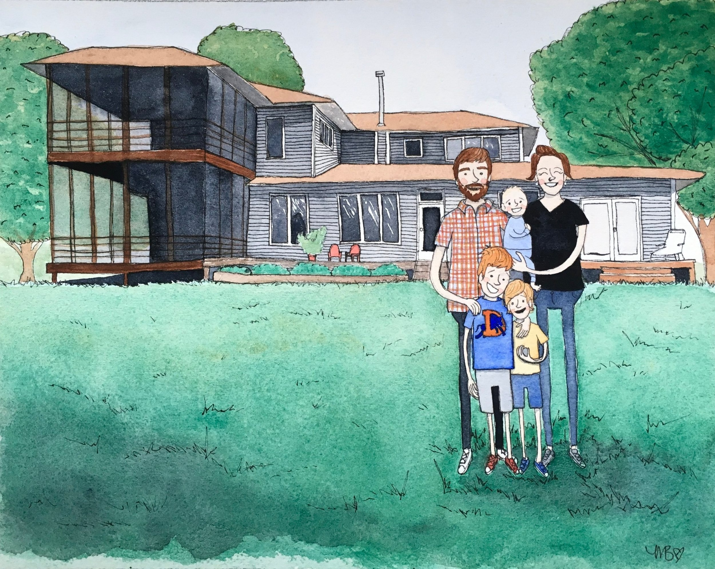"""Houses and Landscape Backgrounds - Setting your portrait in a favorite location, new house, old house, vacation spot, etc. takes it to a new level!Hand-painted digital art professionally printed on archival fine art paper. Includes one 8x10"""" portrait with up to five subjects. $400Additional subjects (max 9): $15 ea.Additional 8x10"""" prints: $25 ea."""