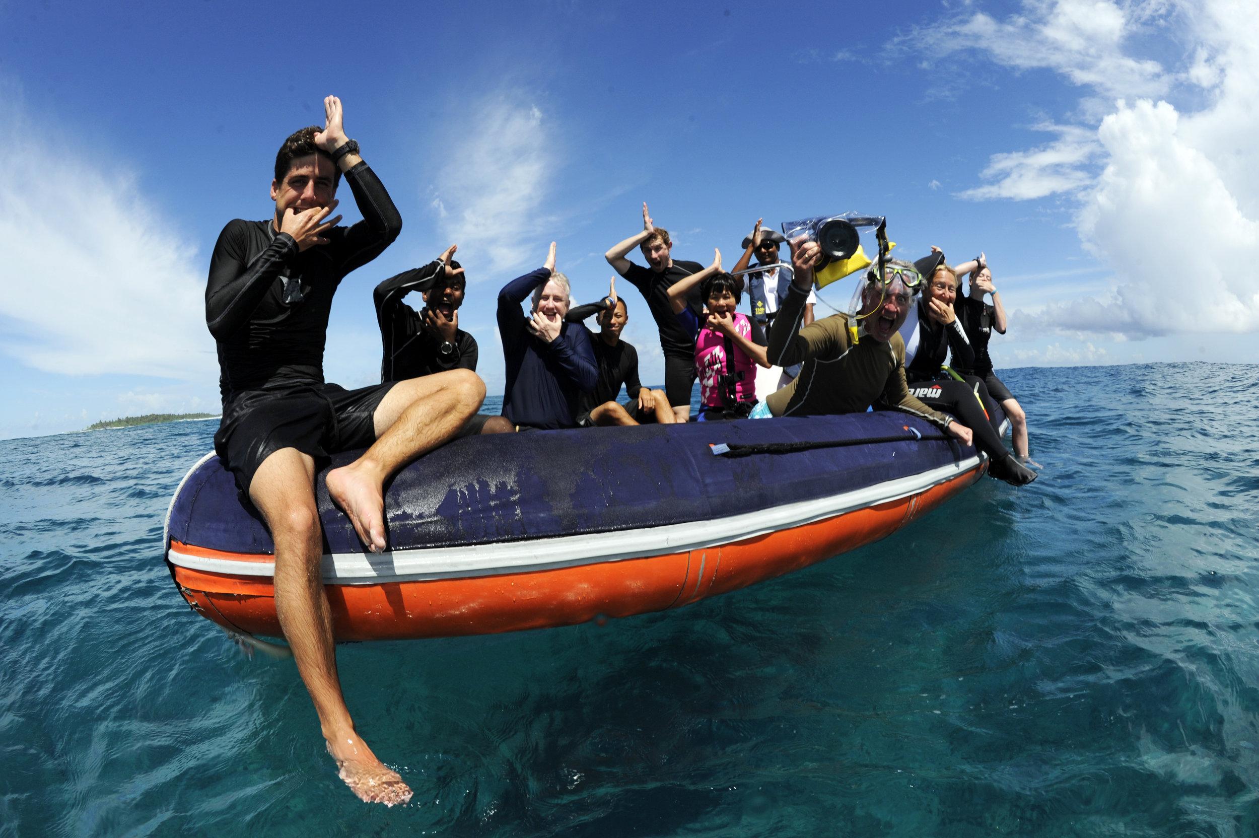 Manta Expedition Snorkel Team, Maamigili Beyru, Ari Atoll, Maldives © Guy Stevens Manta Trust 2014.JPG