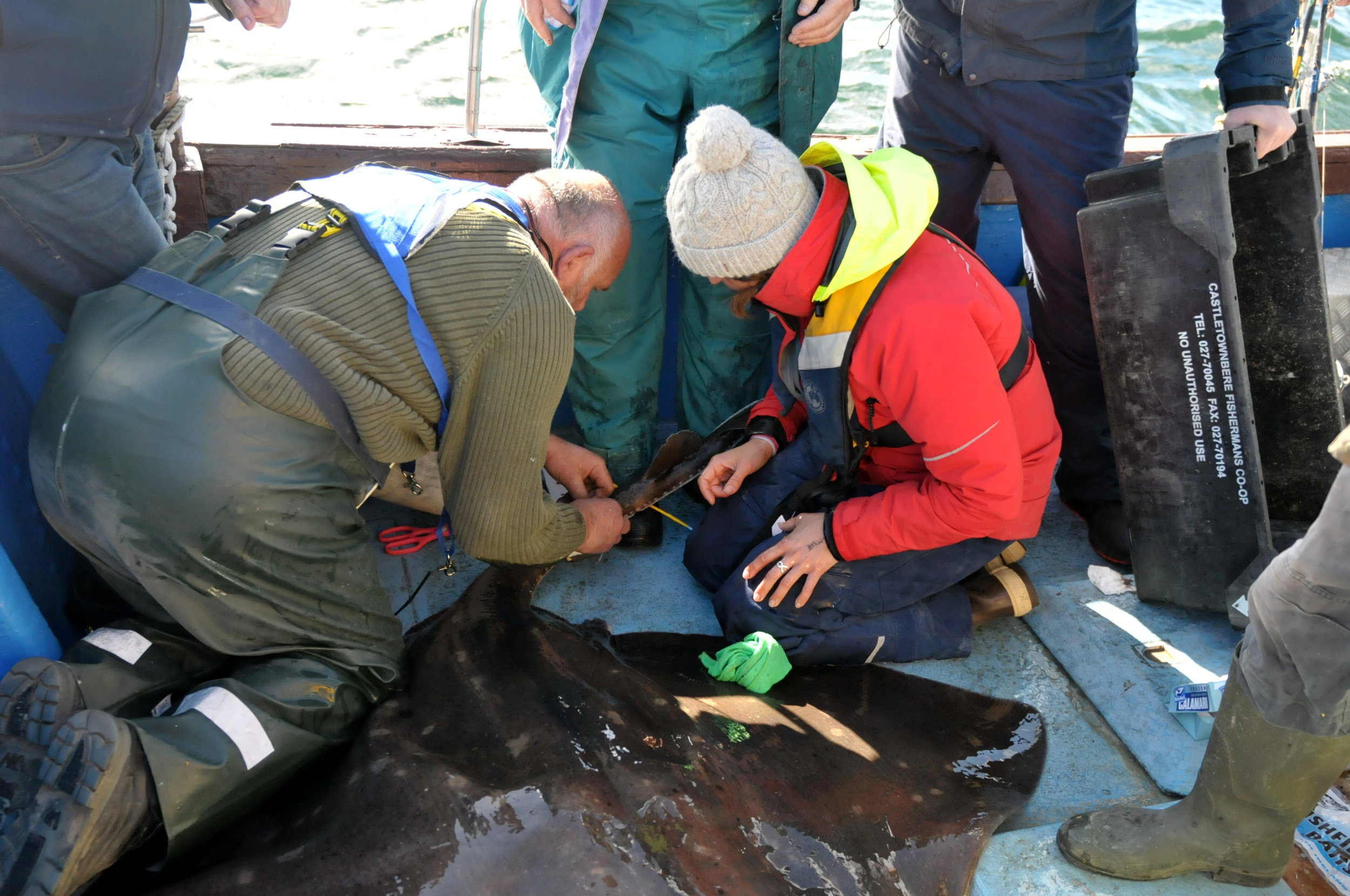 Declan helps with attaching the package while the rest of the fishermen look on.  Photo: John O'Connor.