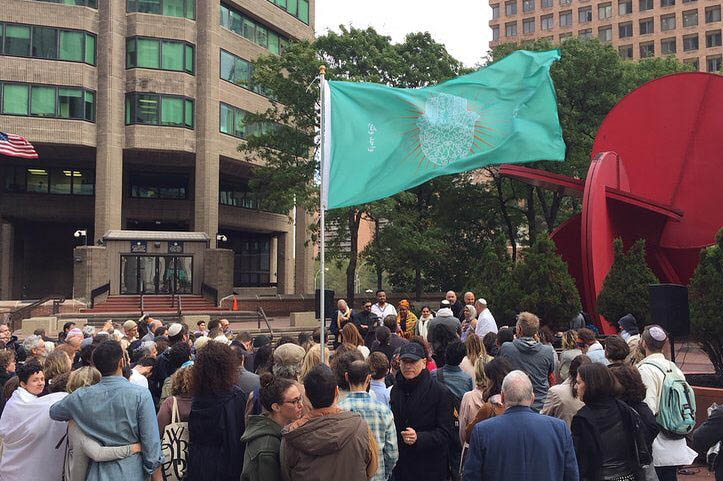 Hamsa Flag at LabShul Interfaith Rally, 2017
