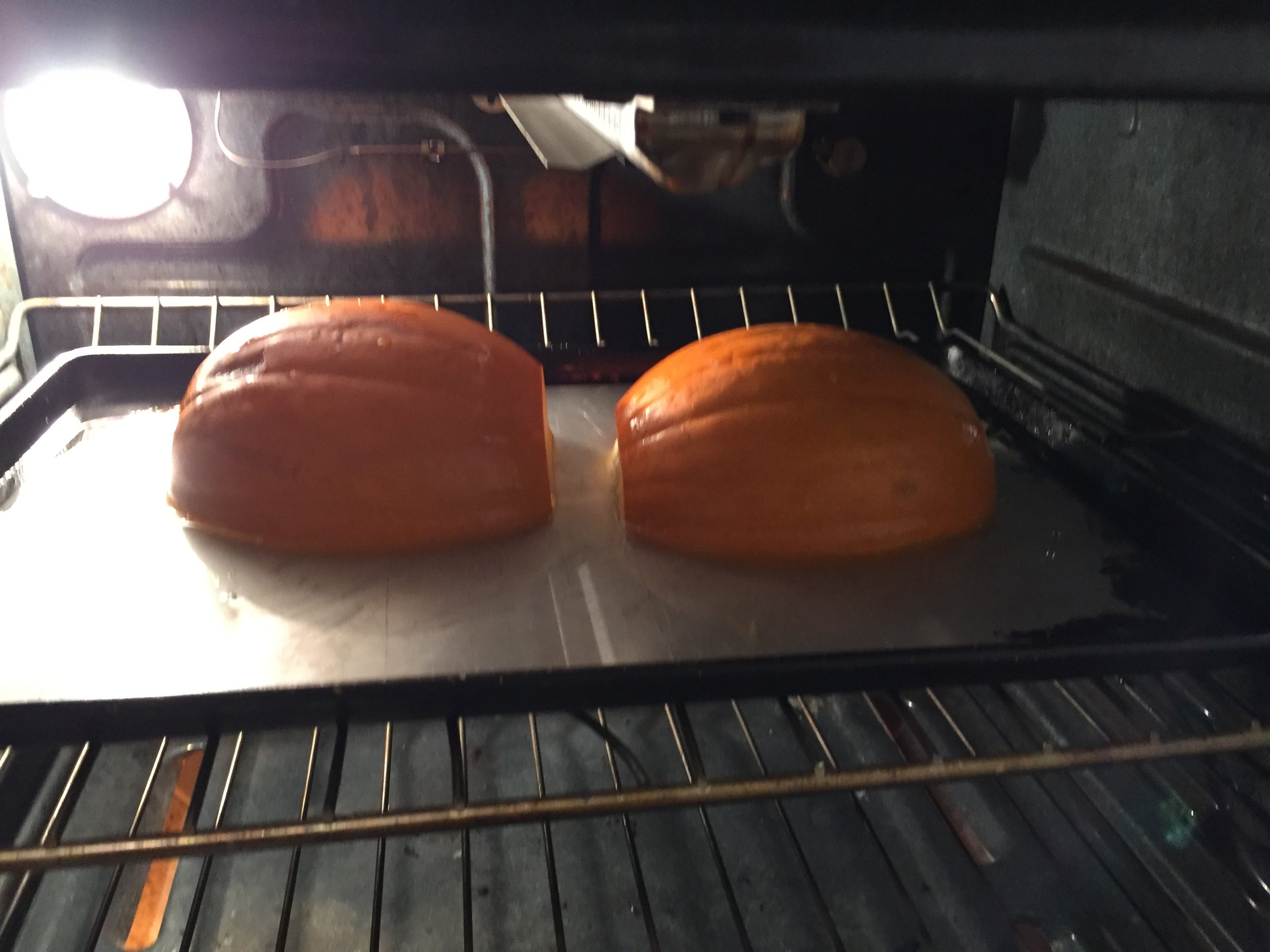 Little pumpkin baking until soft.