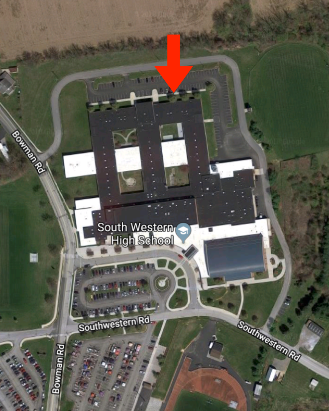 Note: The tailgate will take place on the north side of the school (indicated by the arrow).