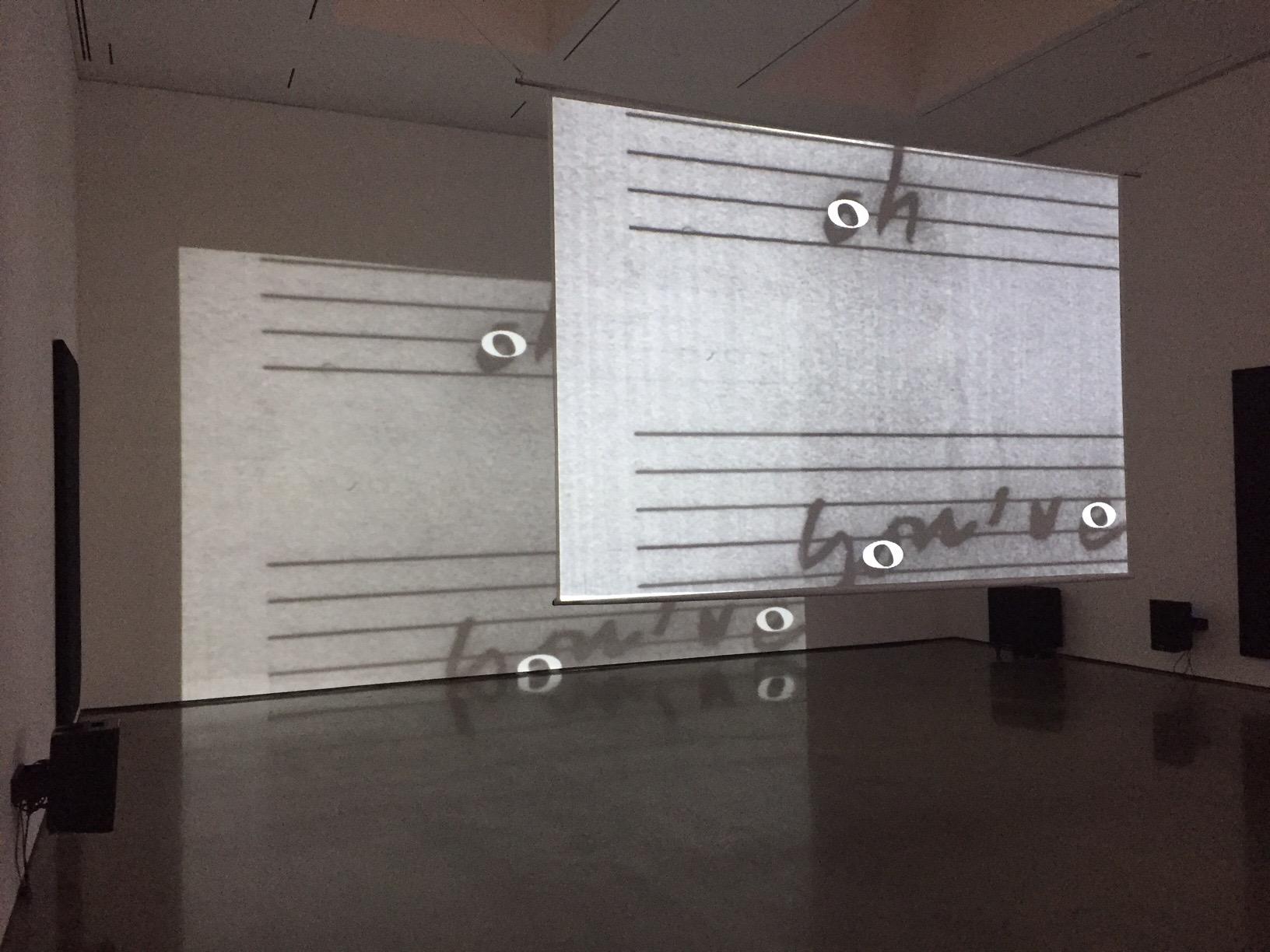 "View of installation at Bard CCS exhibition ""Marina Rosenfeld: After Notation"", 2017"