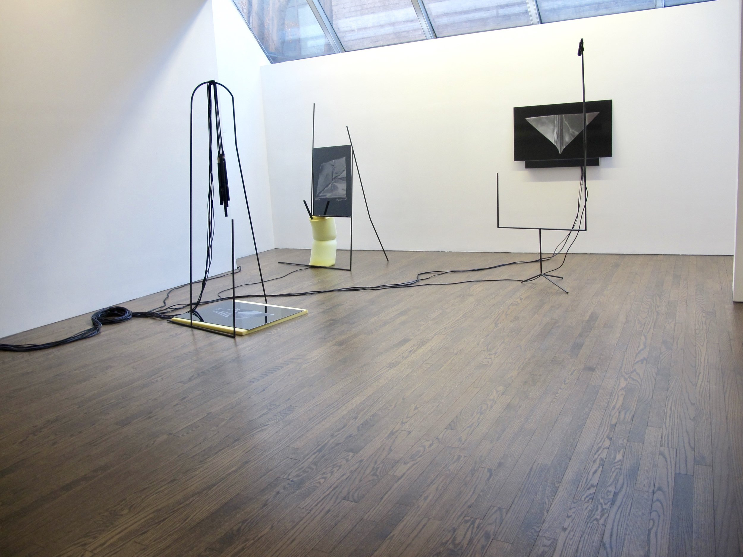 Music Stands, 2019,  s teel, UV prints on Dibond, foam, audio components, computer, sound. Installation view at The Artists Institute